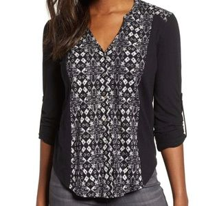 Lucky Brand tribal print button front top L